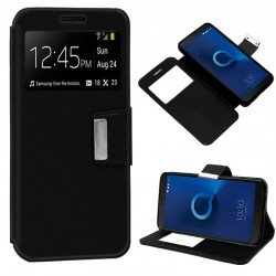 Funda Flip Cover Alcatel 3C Liso Negro