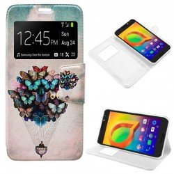 Funda Flip Cover Alcatel A3 Dibujos Mariposas