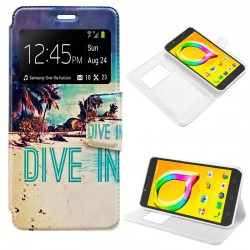 Funda Flip Cover Alcatel A5 Led Dibujos Beach