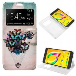 Funda Flip Cover Alcatel A5 Led Dibujos Mariposas