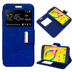 Funda Flip Cover Alcatel A5 Led Liso Azul
