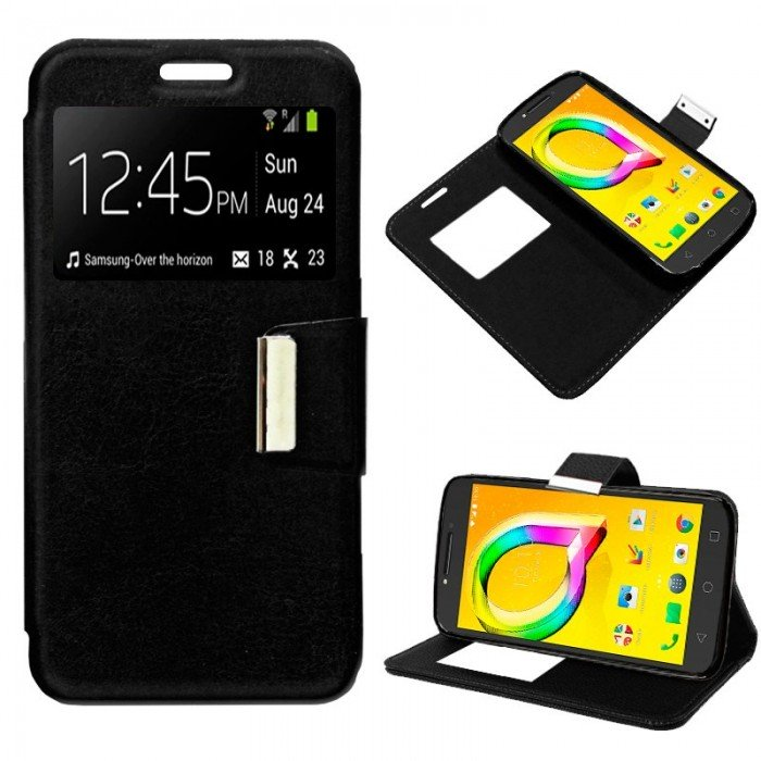 Funda Flip Cover Alcatel A5 Led Liso Negro