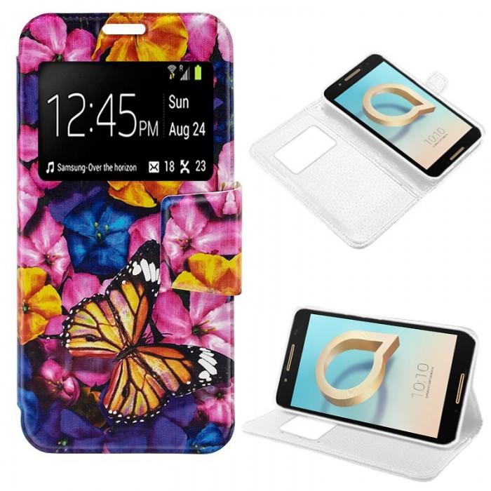 Funda Flip Cover Alcatel A7 Dibujos Mariposa