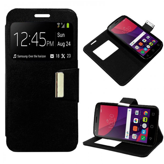 Funda Flip Cover Alcatel Pixi 4 (5) 3G Liso Negro