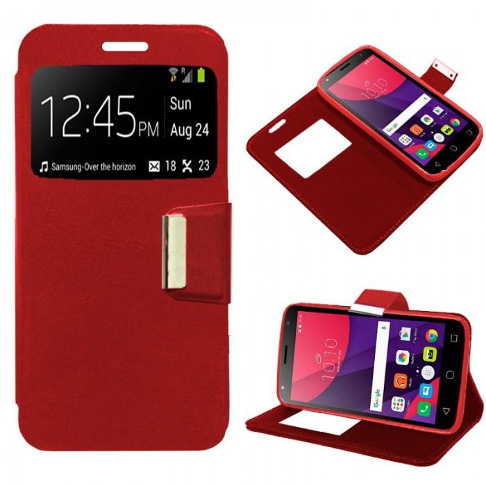 Funda Flip Cover Alcatel Pixi 4 (5) 3G Liso Rojo