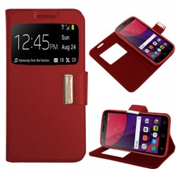 Funda Flip Cover Alcatel Pixi 4 (5) 4G / Smart 7 Turbo Liso Rojo