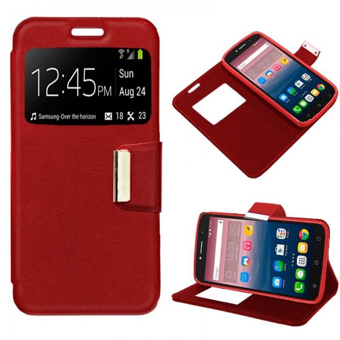 Funda Flip Cover Alcatel Pixi 4 (6) 3G / Alcatel A2 XL Liso Rojo