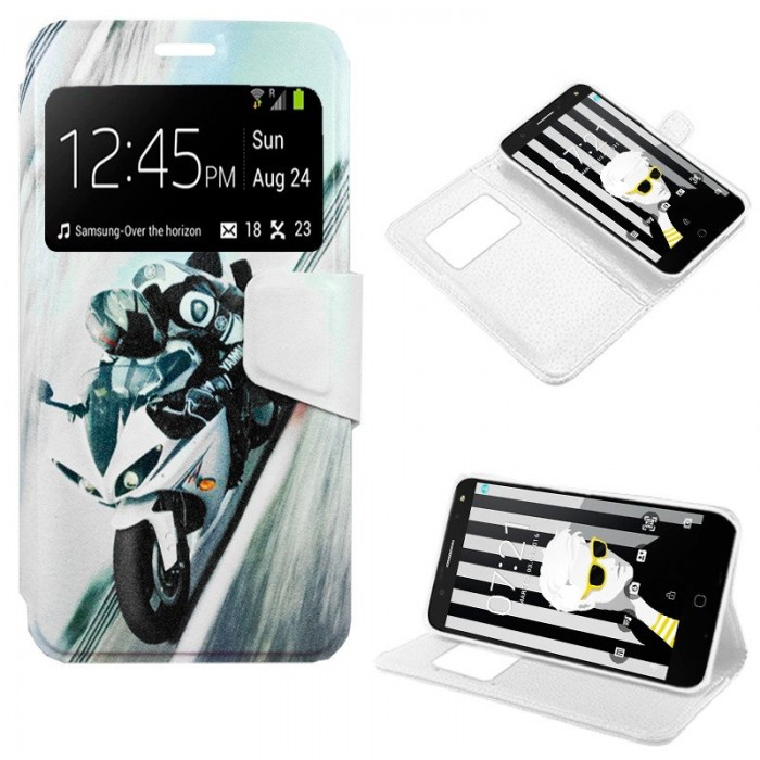 Funda Flip Cover Alcatel Pop 4 (5) Dibujos Moto