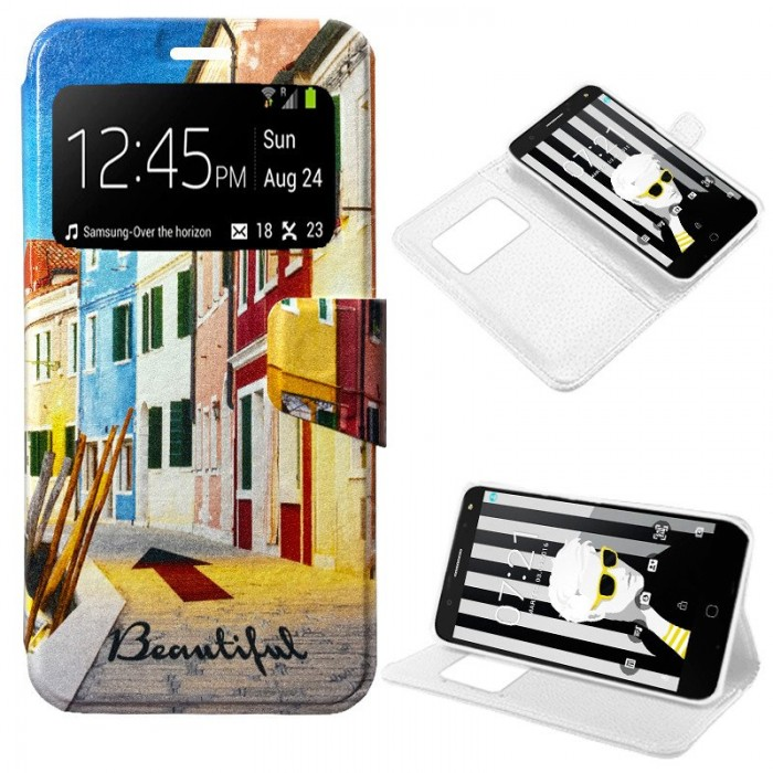 Funda Flip Cover Alcatel Pop 4 Plus Dibujos City