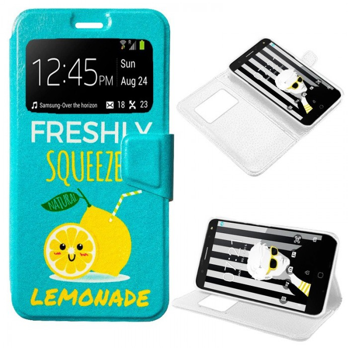 Funda Flip Cover Alcatel Pop 4 Plus Dibujos Lemonade