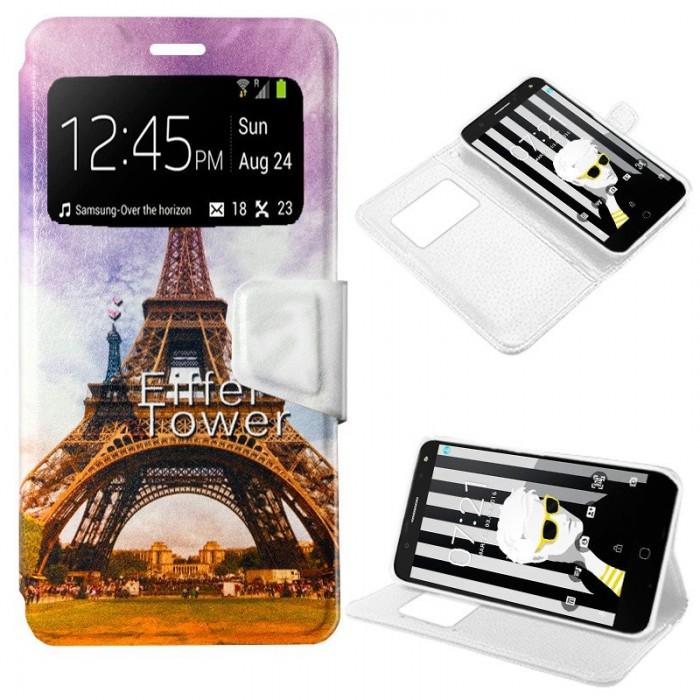 Funda Flip Cover Alcatel Pop 4 Plus Dibujos Paris