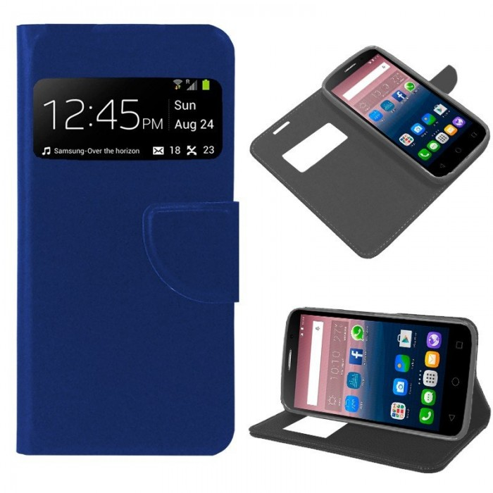 Funda Flip Cover Alcatel Pop Star Liso Azul
