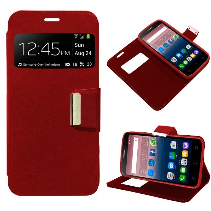Funda Flip Cover Alcatel Pop Star Liso Rojo