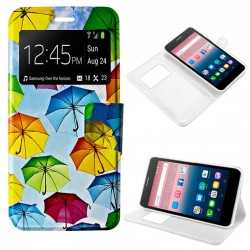 Funda Flip Cover Alcatel Pop Up Dibujos Paraguas