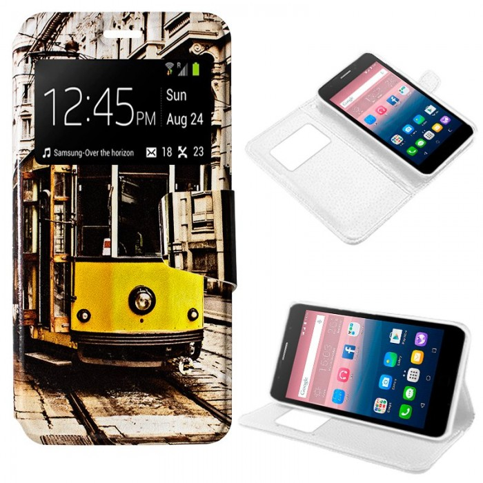 Funda Flip Cover Alcatel Pop Up Dibujos Tren