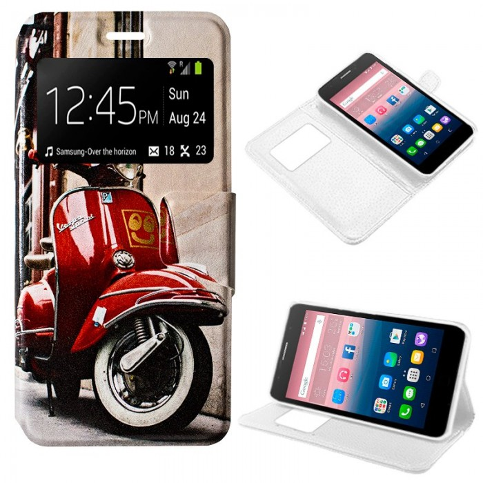 Funda Flip Cover Alcatel Pop Up Dibujos Vespa