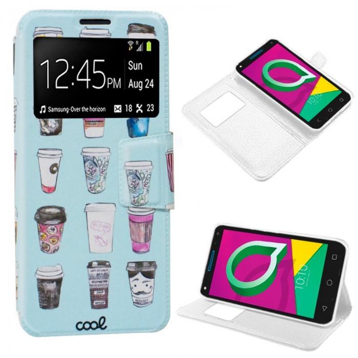 Funda Flip Cover Alcatel U5 3G / U5 3G Plus Dibujos Coffee