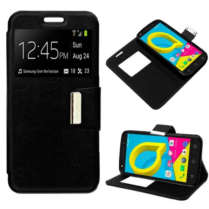 Funda Flip Cover Alcatel U5 4G Liso Negro
