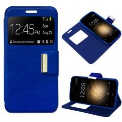 Funda Flip Cover BQ Aquaris U Plus Liso Azul