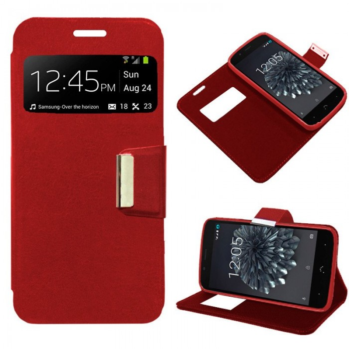 Funda Flip Cover BQ Aquaris X5 Plus Liso Rojo