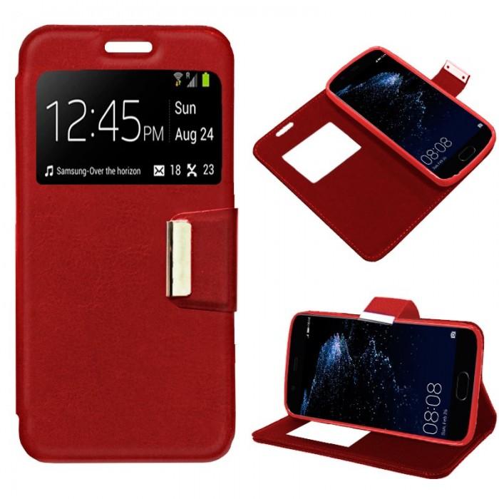 Funda Flip Cover Huawei P10 Plus Liso Rojo