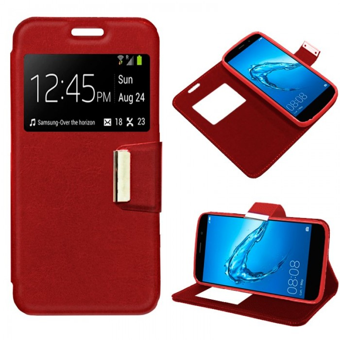 Funda Flip Cover Huawei Y7 Liso Rojo