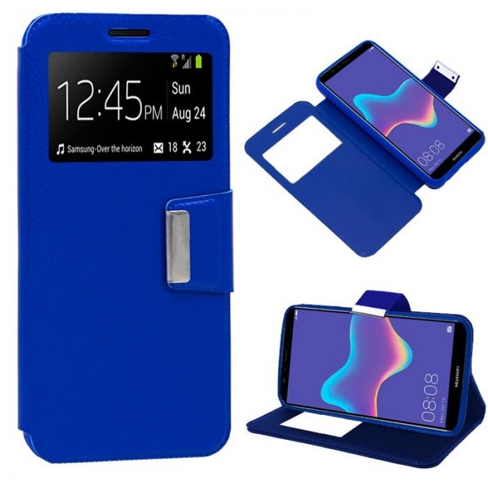 Funda Flip Cover Huawei Y9 (2018) Liso Azul