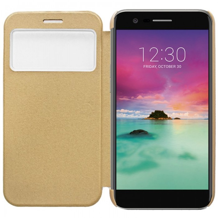 Funda Flip Cover LG K10 (2017) Clear View Dorado
