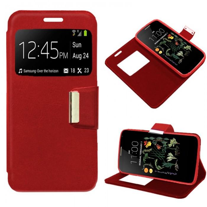 Funda Flip Cover LG K5 Liso Rojo