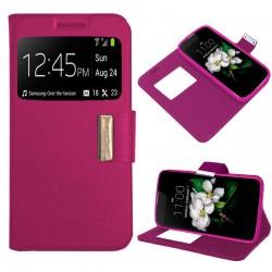 Funda Flip Cover LG K7 Liso Rosa