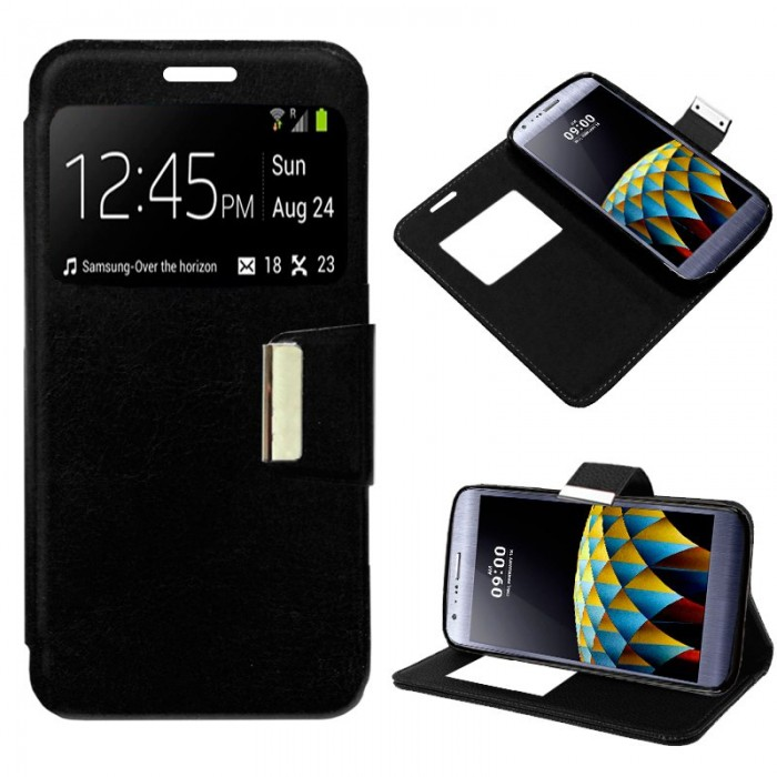 Funda Flip Cover LG X Cam Liso Negro