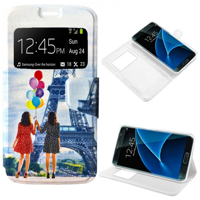 Funda Flip Cover Samsung G930 Galaxy S7 Dibujos Globos