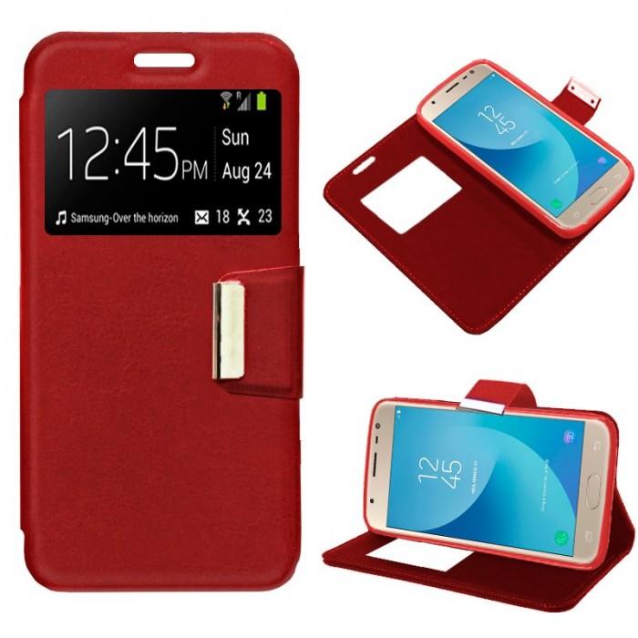Funda Flip Cover Samsung J330 Galaxy J3 (2017) Liso Rojo