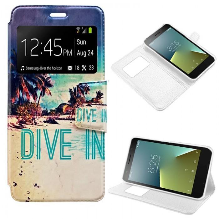 Funda Flip Cover Vodafone Smart E8 Dibujos Beach