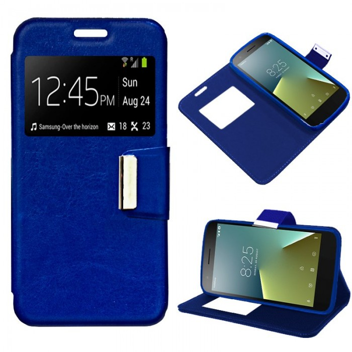 Funda Flip Cover Vodafone Smart E8 Liso Azul