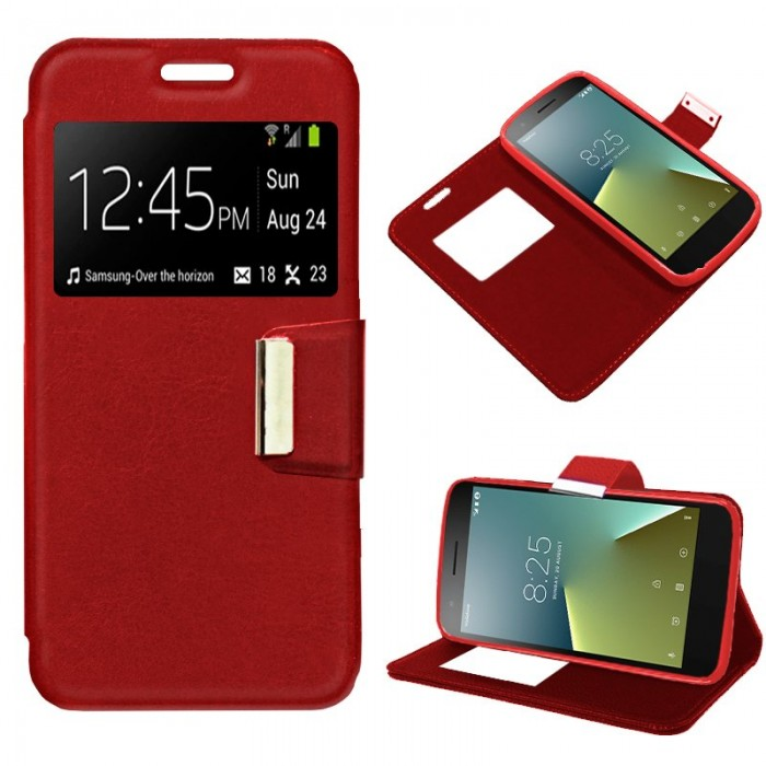 Funda Flip Cover Vodafone Smart E8 Liso Rojo