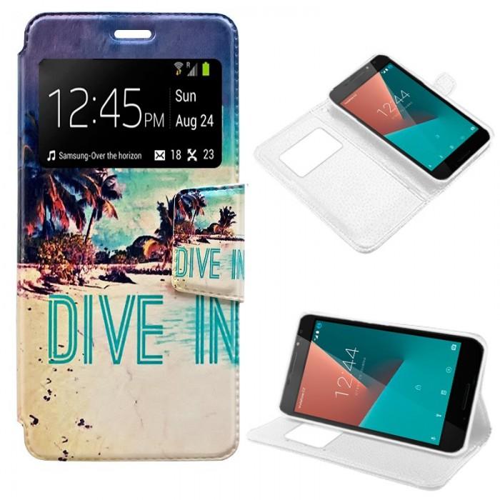 Funda Flip Cover Vodafone Smart N8 Dibujos Beach