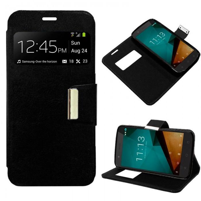Funda Flip Cover Vodafone Smart Prime 7 Liso Negro