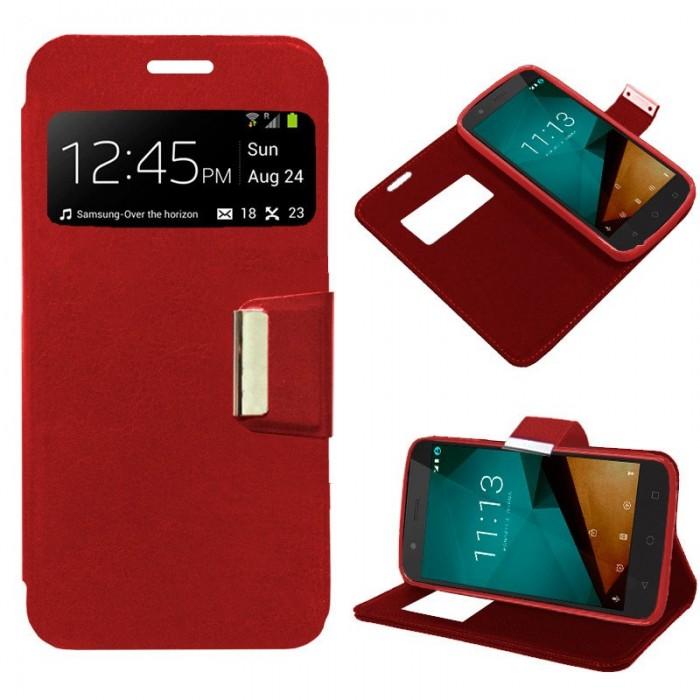 Funda Flip Cover Vodafone Smart Prime 7 Liso Rojo