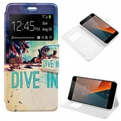 Funda Flip Cover Vodafone Smart V8 Dibujos Beach