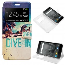 Funda Flip Cover Wiko Harry Dibujos Beach