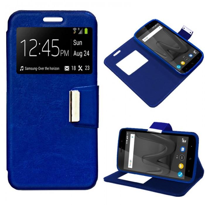 Funda Flip Cover Wiko Lenny 4 Plus Liso Azul