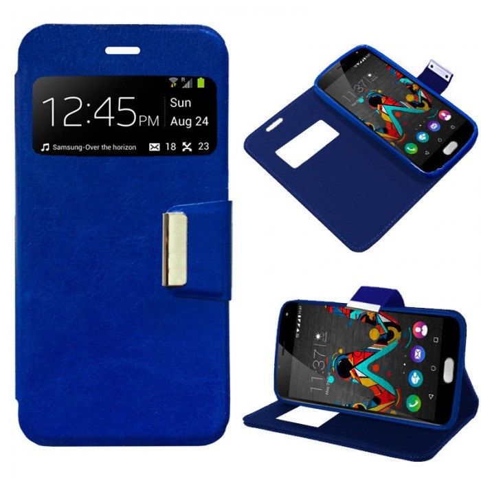 Funda Flip Cover Wiko U Feel Liso Azul