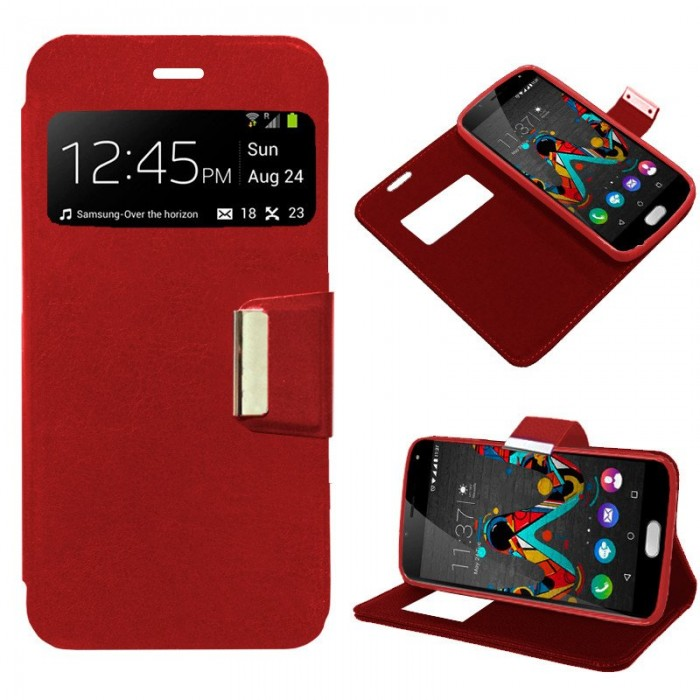 Funda Flip Cover Wiko U Feel Liso Rojo
