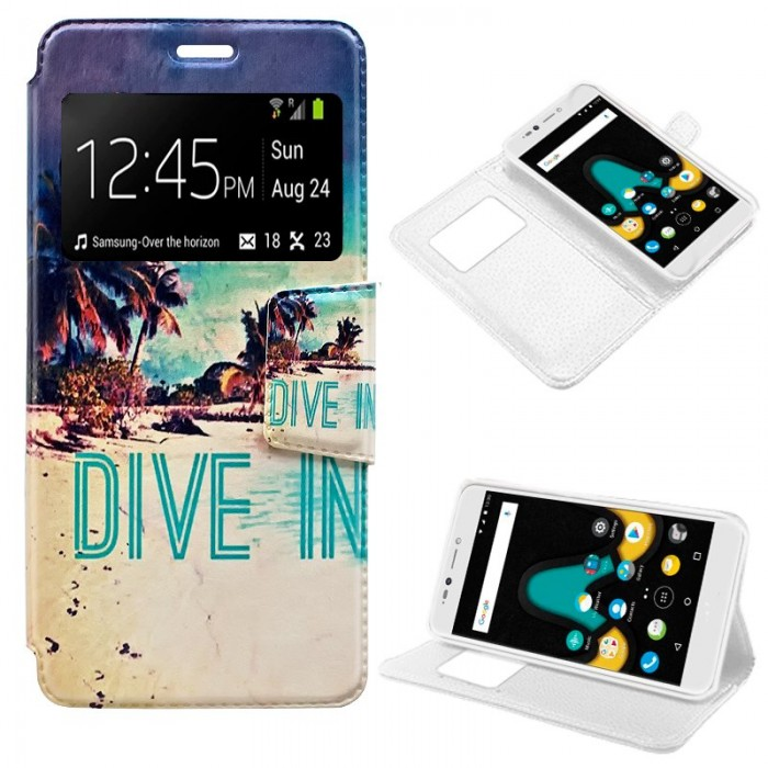 Funda Flip Cover Wiko U Pulse Lite Dibujos Beach