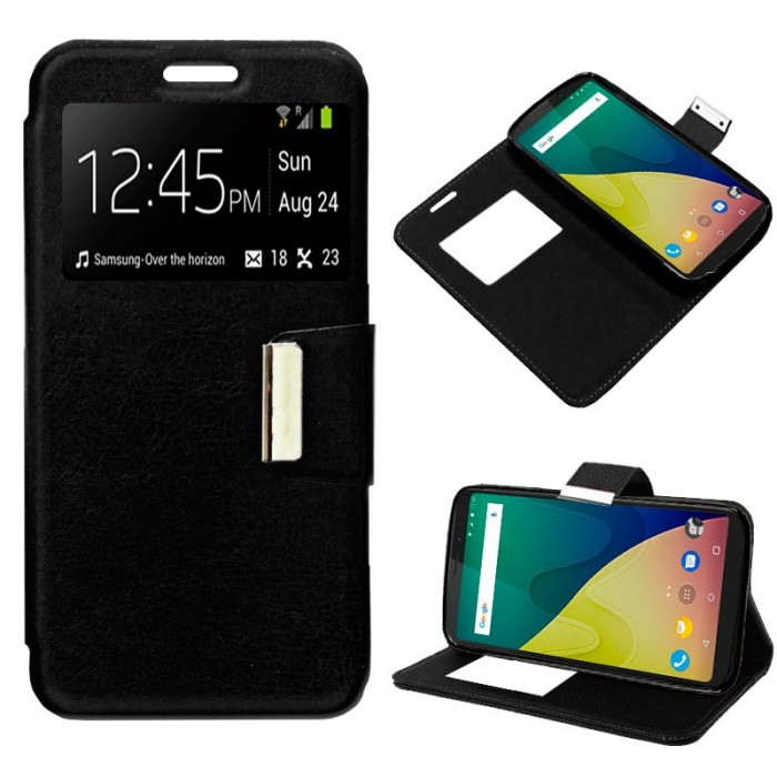 Funda Flip Cover Wiko View XL Liso Negro