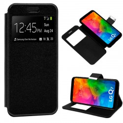 Funda Flip Cover LG Q7 Liso Negro