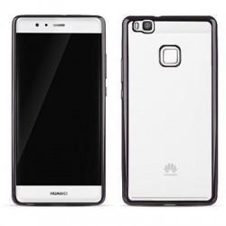 Carcasa Huawei P9 Lite Hybrid (bumper + trasera transparente) efecto metálico negro
