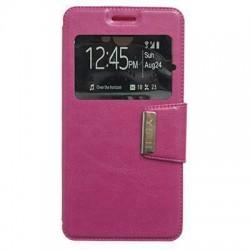 Funda de piel Huawei Y5 II, Y6 II Compact libro con ventana S-View color rosa