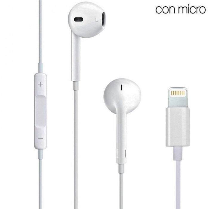 3c8e3c31576 Auriculares Blancos Stereo Con Micro iPHONE 7 / 8 / X (Lightning Bluetooth)